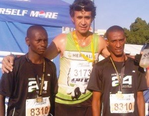 two new runners with coach Hansie after their first 21 km relay race