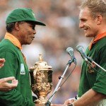 Mandela congratulates Francois Pienaar when they win the world cup rugby in 1995